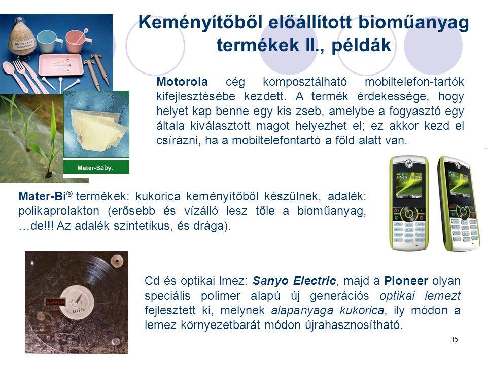 15 Keményítőből előállított bioműanyag termékek II., példák Mater-Bi ® termékek: kukorica keményítőből készülnek, adalék: polikaprolakton (erősebb és vízálló lesz tőle a bioműanyag, …de!!.