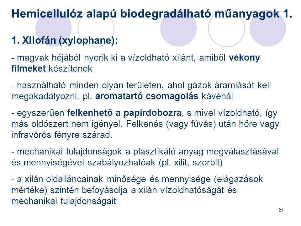 21 Hemicellulóz alapú biodegradálható műanyagok 1. 1. Xilofán (xylophane): - magvak héjából nyerik ki a vízoldható xilánt, amiből vékony filmeket kész