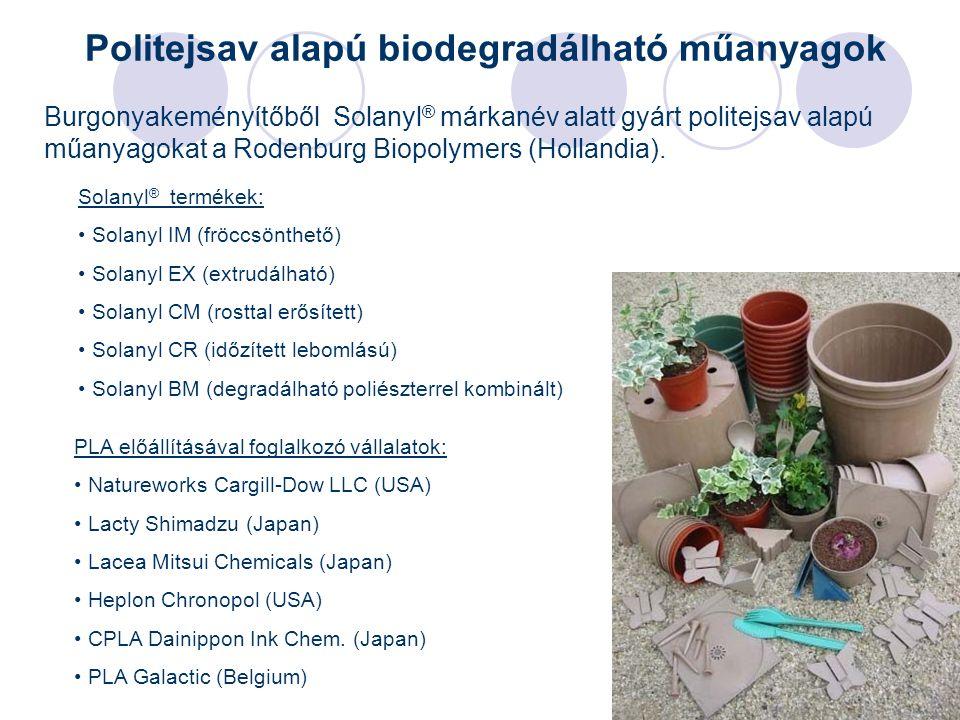 27 Burgonyakeményítőből Solanyl ® márkanév alatt gyárt politejsav alapú műanyagokat a Rodenburg Biopolymers (Hollandia). Solanyl ® termékek: Solanyl I