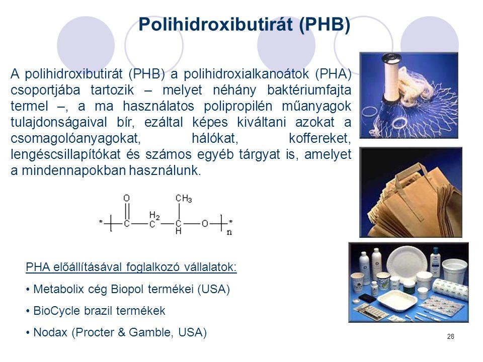 28 A polihidroxibutirát (PHB) a polihidroxialkanoátok (PHA) csoportjába tartozik – melyet néhány baktériumfajta termel –, a ma használatos polipropilén műanyagok tulajdonságaival bír, ezáltal képes kiváltani azokat a csomagolóanyagokat, hálókat, koffereket, lengéscsillapítókat és számos egyéb tárgyat is, amelyet a mindennapokban használunk.
