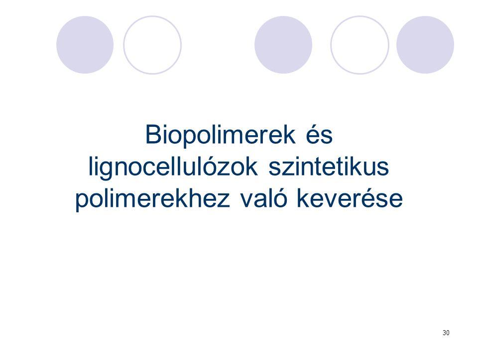 30 Biopolimerek és lignocellulózok szintetikus polimerekhez való keverése