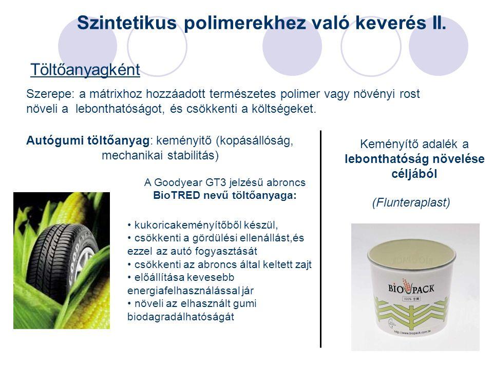33 Töltőanyagként Keményítő adalék a lebonthatóság növelése céljából (Flunteraplast) Szintetikus polimerekhez való keverés II. Autógumi töltőanyag: ke