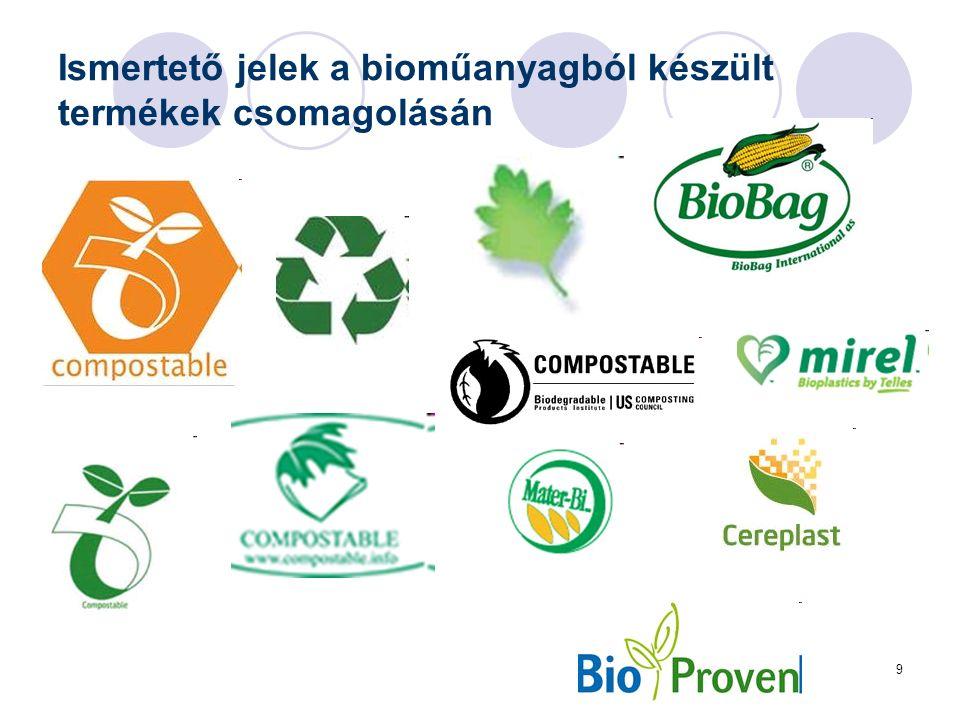 9 Ismertető jelek a bioműanyagból készült termékek csomagolásán