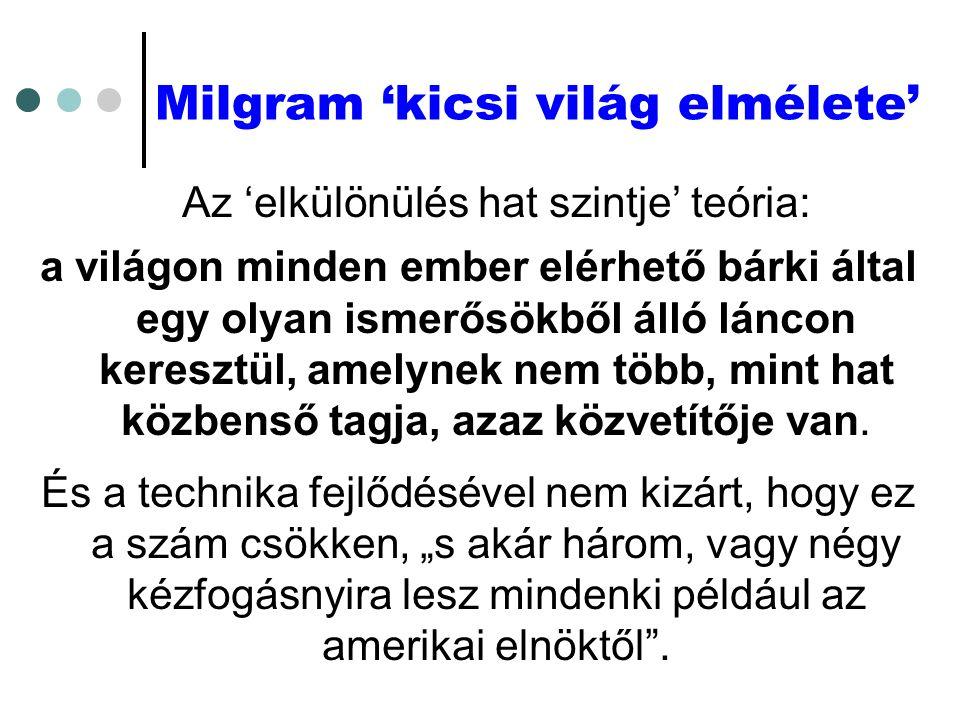 Milgram 'kicsi világ elmélete' Az 'elkülönülés hat szintje' teória: a világon minden ember elérhető bárki által egy olyan ismerősökből álló láncon keresztül, amelynek nem több, mint hat közbenső tagja, azaz közvetítője van.