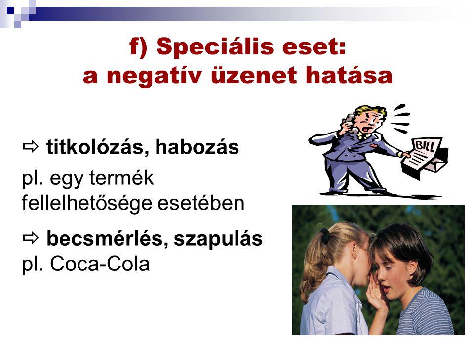 f) Speciális eset: a negatív üzenet hatása  titkolózás, habozás pl.