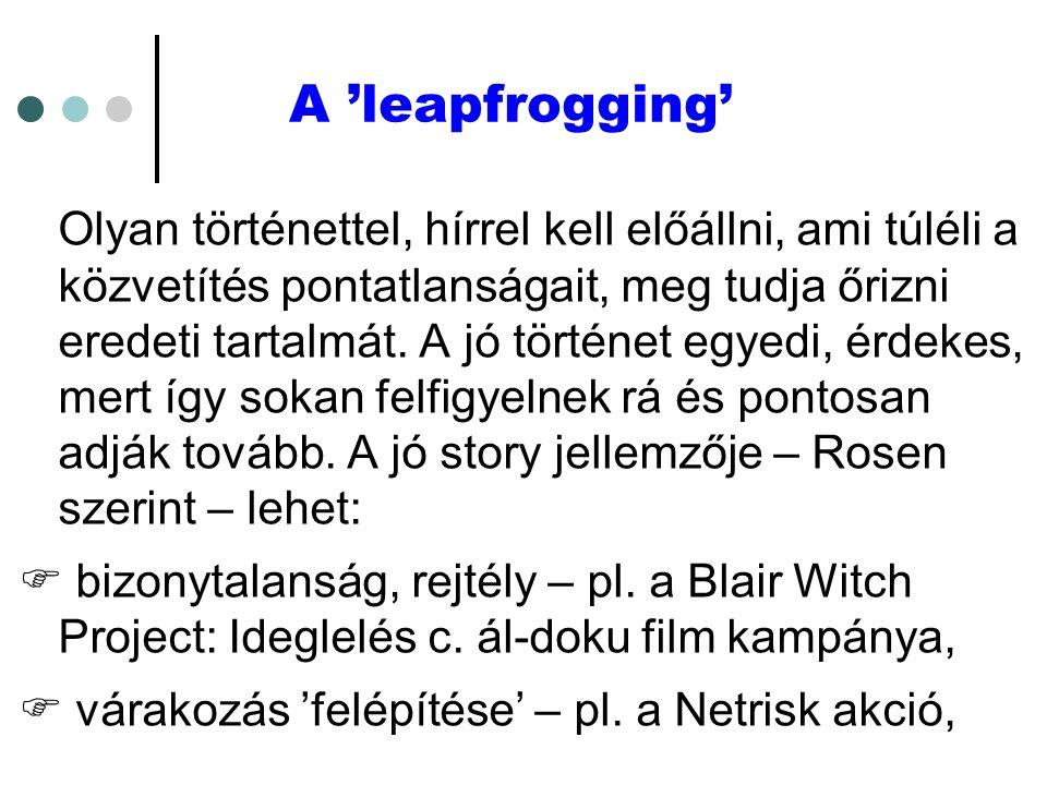 A 'leapfrogging' Olyan történettel, hírrel kell előállni, ami túléli a közvetítés pontatlanságait, meg tudja őrizni eredeti tartalmát.