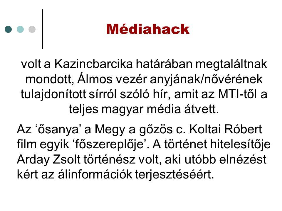 Médiahack volt a Kazincbarcika határában megtaláltnak mondott, Álmos vezér anyjának/nővérének tulajdonított sírról szóló hír, amit az MTI-től a teljes magyar média átvett.