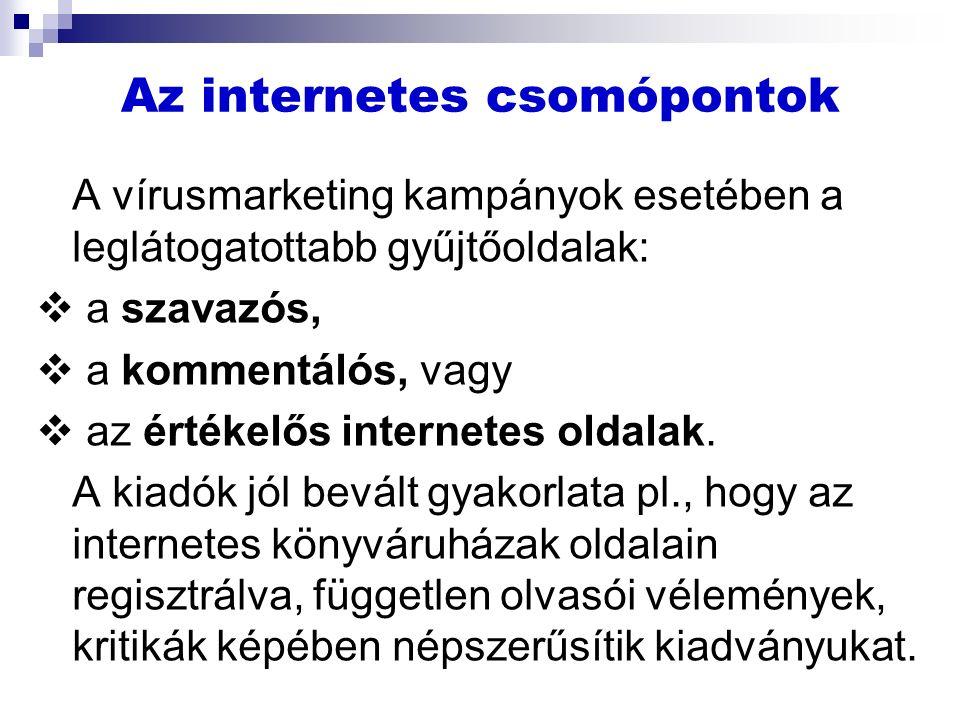 Az internetes csomópontok A vírusmarketing kampányok esetében a leglátogatottabb gyűjtőoldalak:  a szavazós,  a kommentálós, vagy  az értékelős internetes oldalak.