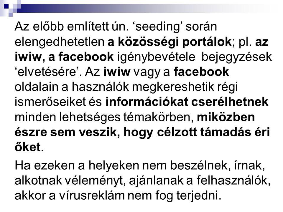 Az előbb említett ún. 'seeding' során elengedhetetlen a közösségi portálok; pl.