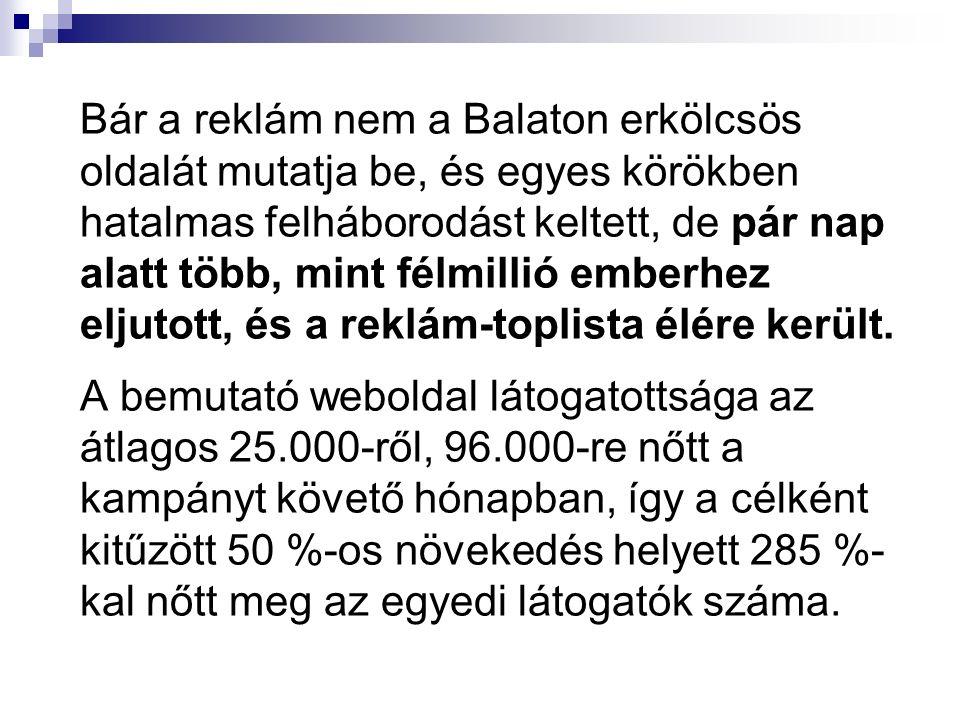 Bár a reklám nem a Balaton erkölcsös oldalát mutatja be, és egyes körökben hatalmas felháborodást keltett, de pár nap alatt több, mint félmillió emberhez eljutott, és a reklám-toplista élére került.