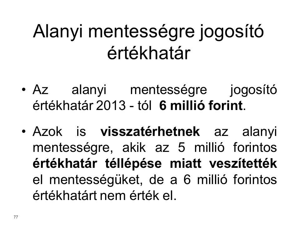 Az alanyi mentességre jogosító értékhatár 2013 - tól 6 millió forint.