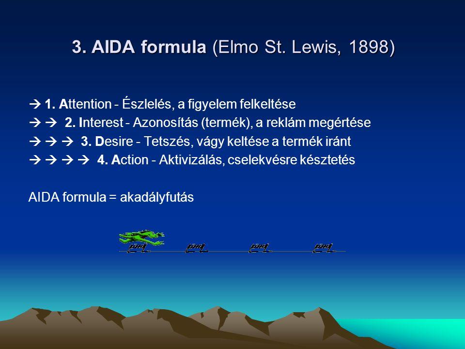 3.AIDA formula (Elmo St. Lewis, 1898)  1. Attention - Észlelés, a figyelem felkeltése   2.