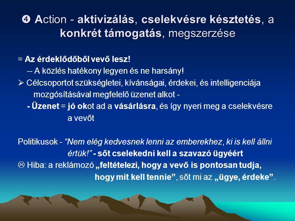  Action - aktivizálás, cselekvésre késztetés, a konkrét támogatás, megszerzése = Az érdeklődőből vevő lesz.