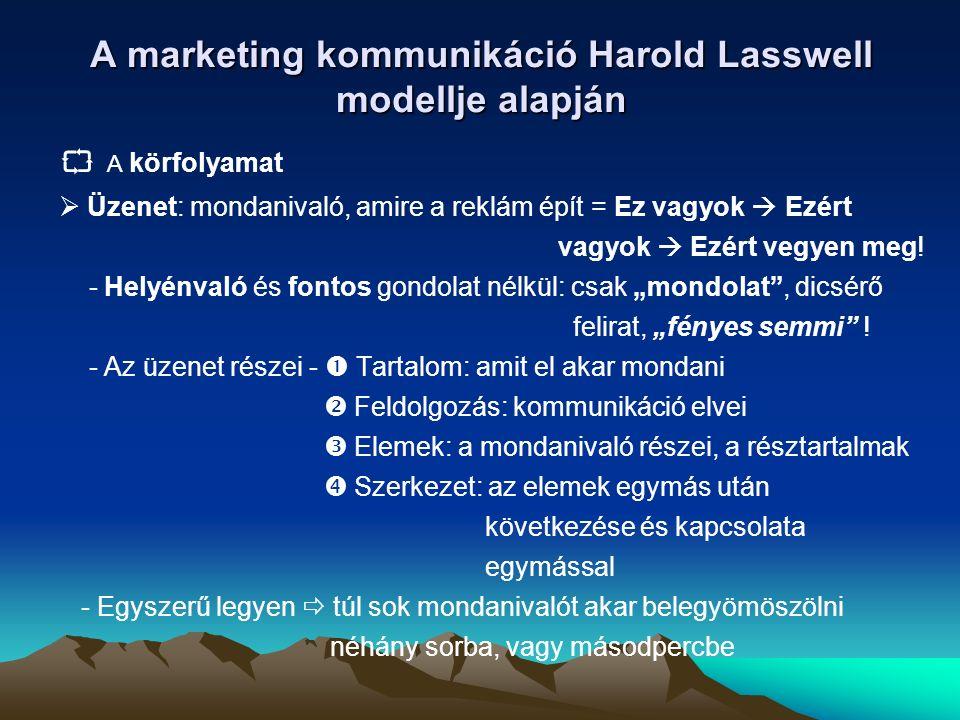 A marketing kommunikáció Harold Lasswell modellje alapján  A körfolyamat  Üzenet: mondanivaló, amire a reklám épít = Ez vagyok  Ezért vagyok  Ezért vegyen meg.