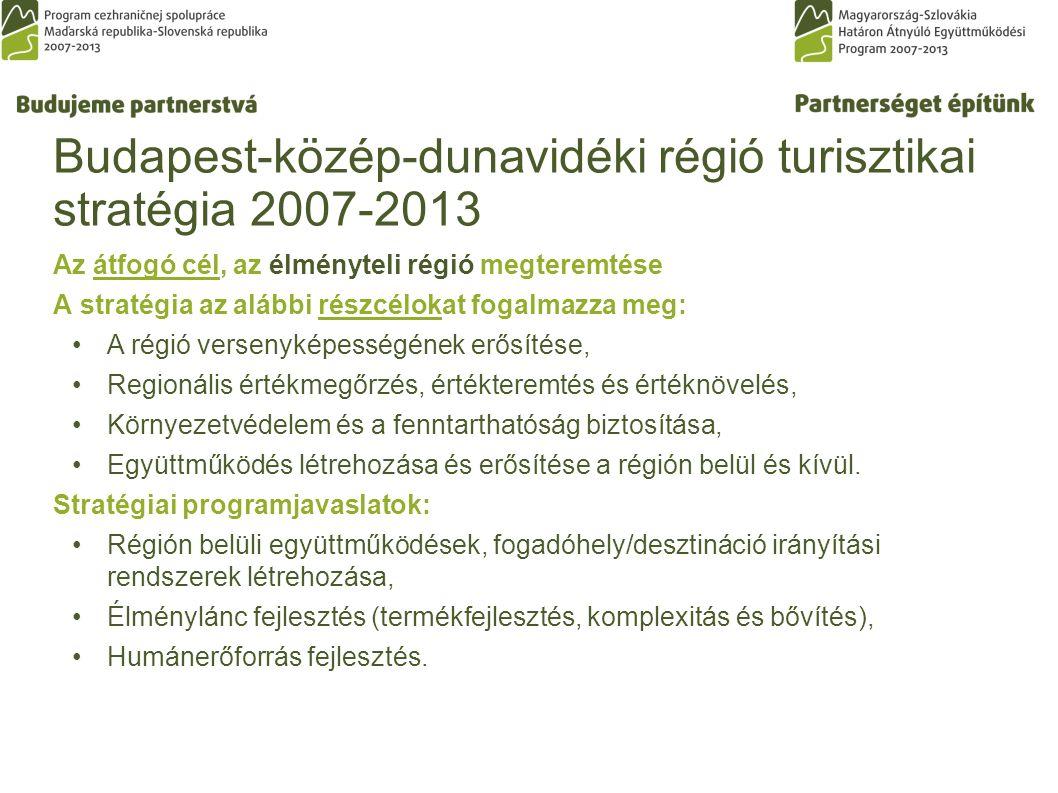 Budapest-közép-dunavidéki régió turisztikai stratégia 2007-2013 Az átfogó cél, az élményteli régió megteremtése A stratégia az alábbi részcélokat fogalmazza meg: A régió versenyképességének erősítése, Regionális értékmegőrzés, értékteremtés és értéknövelés, Környezetvédelem és a fenntarthatóság biztosítása, Együttműködés létrehozása és erősítése a régión belül és kívül.