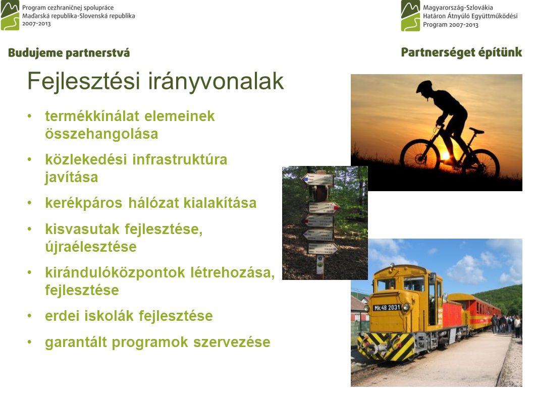 Fejlesztési irányvonalak termékkínálat elemeinek összehangolása közlekedési infrastruktúra javítása kerékpáros hálózat kialakítása kisvasutak fejlesztése, újraélesztése kirándulóközpontok létrehozása, fejlesztése erdei iskolák fejlesztése garantált programok szervezése