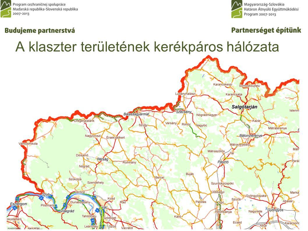 A klaszter területének kerékpáros hálózata
