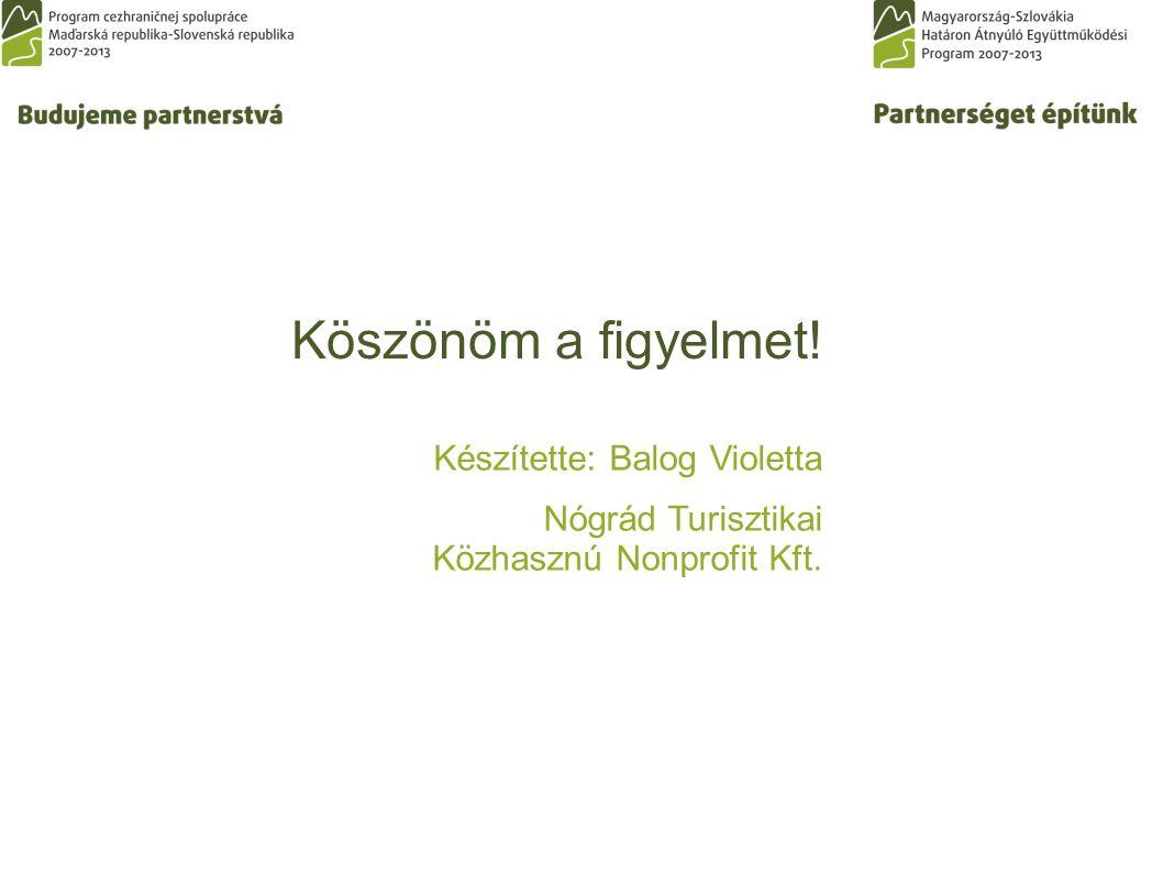 Köszönöm a figyelmet! Készítette: Balog Violetta Nógrád Turisztikai Közhasznú Nonprofit Kft.