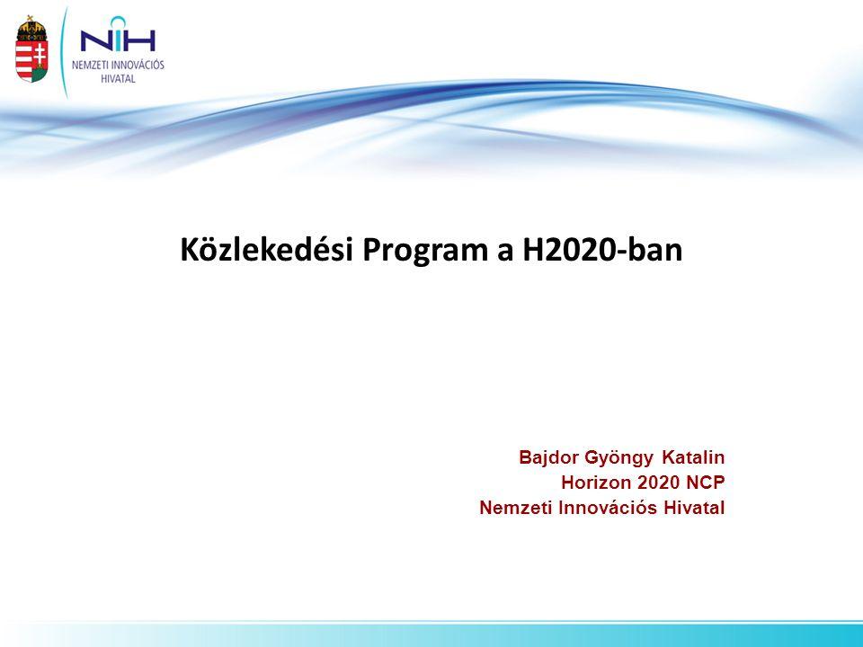 Közlekedési Program a H2020-ban Bajdor Gyöngy Katalin Horizon 2020 NCP Nemzeti Innovációs Hivatal