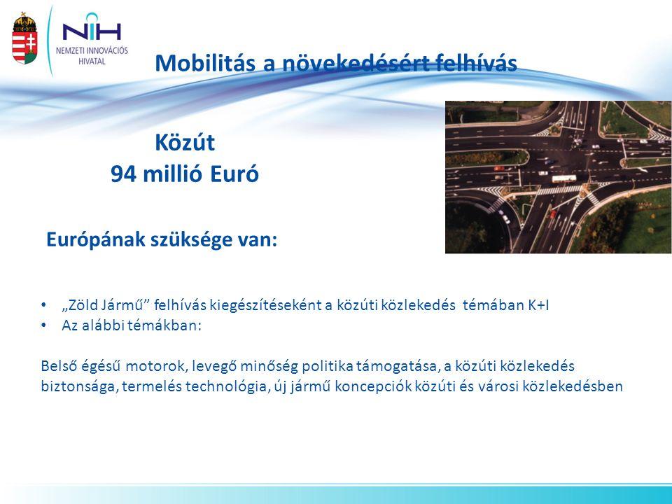 """Mobilitás a növekedésért felhívás Közút 94 millió Euró Európának szüksége van: """"Zöld Jármű felhívás kiegészítéseként a közúti közlekedés témában K+I Az alábbi témákban: Belső égésű motorok, levegő minőség politika támogatása, a közúti közlekedés biztonsága, termelés technológia, új jármű koncepciók közúti és városi közlekedésben"""