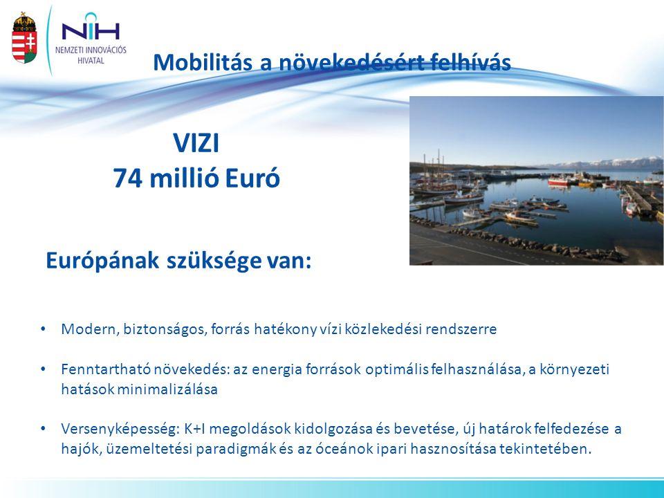 Mobilitás a növekedésért felhívás VIZI 74 millió Euró Európának szüksége van: Modern, biztonságos, forrás hatékony vízi közlekedési rendszerre Fenntartható növekedés: az energia források optimális felhasználása, a környezeti hatások minimalizálása Versenyképesség: K+I megoldások kidolgozása és bevetése, új határok felfedezése a hajók, üzemeltetési paradigmák és az óceánok ipari hasznosítása tekintetében.