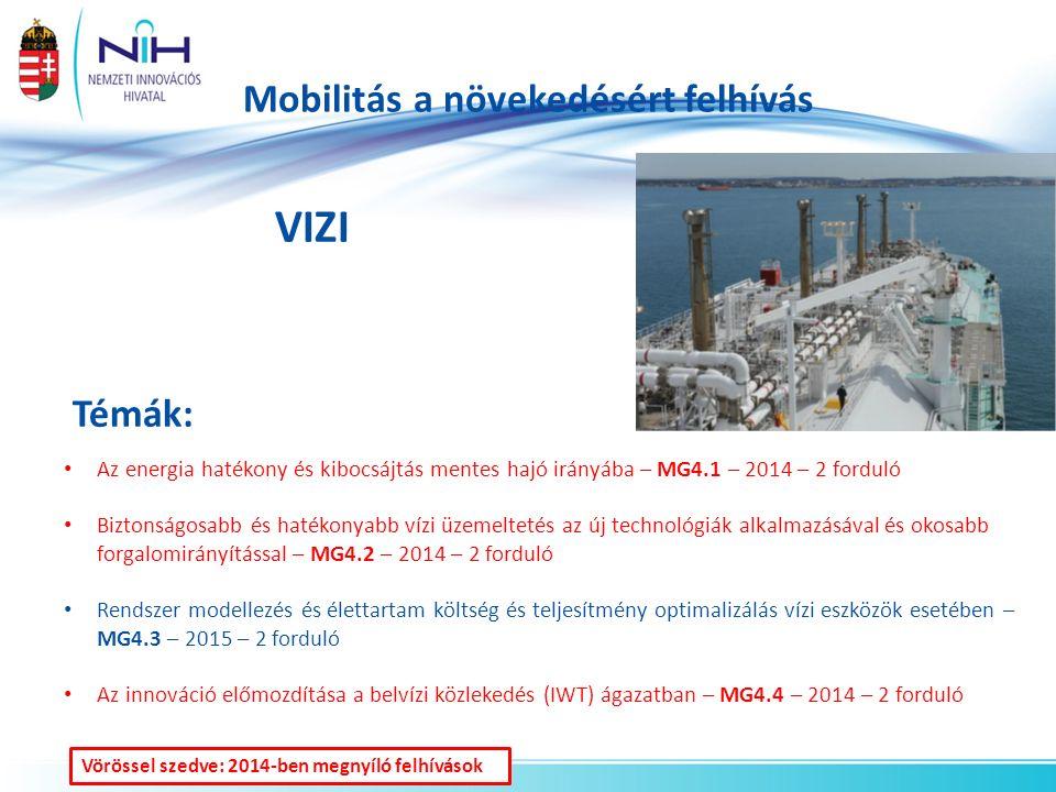 Mobilitás a növekedésért felhívás VIZI Témák: Az energia hatékony és kibocsájtás mentes hajó irányába – MG4.1 – 2014 – 2 forduló Biztonságosabb és hatékonyabb vízi üzemeltetés az új technológiák alkalmazásával és okosabb forgalomirányítással – MG4.2 – 2014 – 2 forduló Rendszer modellezés és élettartam költség és teljesítmény optimalizálás vízi eszközök esetében – MG4.3 – 2015 – 2 forduló Az innováció előmozdítása a belvízi közlekedés (IWT) ágazatban – MG4.4 – 2014 – 2 forduló Vörössel szedve: 2014-ben megnyíló felhívások