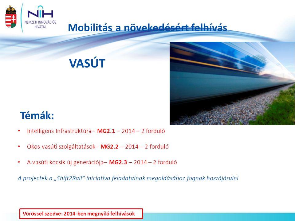 """Mobilitás a növekedésért felhívás VASÚT Témák: Intelligens Infrastruktúra– MG2.1 – 2014 – 2 forduló Okos vasúti szolgáltatások– MG2.2 – 2014 – 2 forduló A vasúti kocsik új generációja– MG2.3 – 2014 – 2 forduló A projectek a """"Shift2Rail iniciatíva feladatainak megoldásához fognak hozzájárulni Vörössel szedve: 2014-ben megnyíló felhívások"""