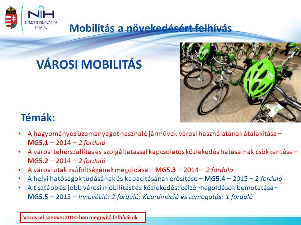 Mobilitás a növekedésért felhívás VÁROSI MOBILITÁS Témák: A hagyományos üzemanyagot használó járművek városi használatának átalakítása – MG5.1 – 2014 – 2 forduló A városi teherszállítás és szolgáltatással kapcsolatos közlekedés hatásainak csökkentése – MG5.2 – 2014 – 2 forduló A városi utak zsúfoltságának megoldása – MG5.3 – 2014 – 2 forduló A helyi hatóságok tudásának és kapacitásának erősítése – MG5.4 – 2015 – 2 forduló A tisztább és jobb városi mobilitást és közlekedést célzó megoldások bemutatása – MG5.5 – 2015 – Innováció: 2 forduló; Koordináció és támogatás: 1 forduló Vörössel szedve: 2014-ben megnyíló felhívások