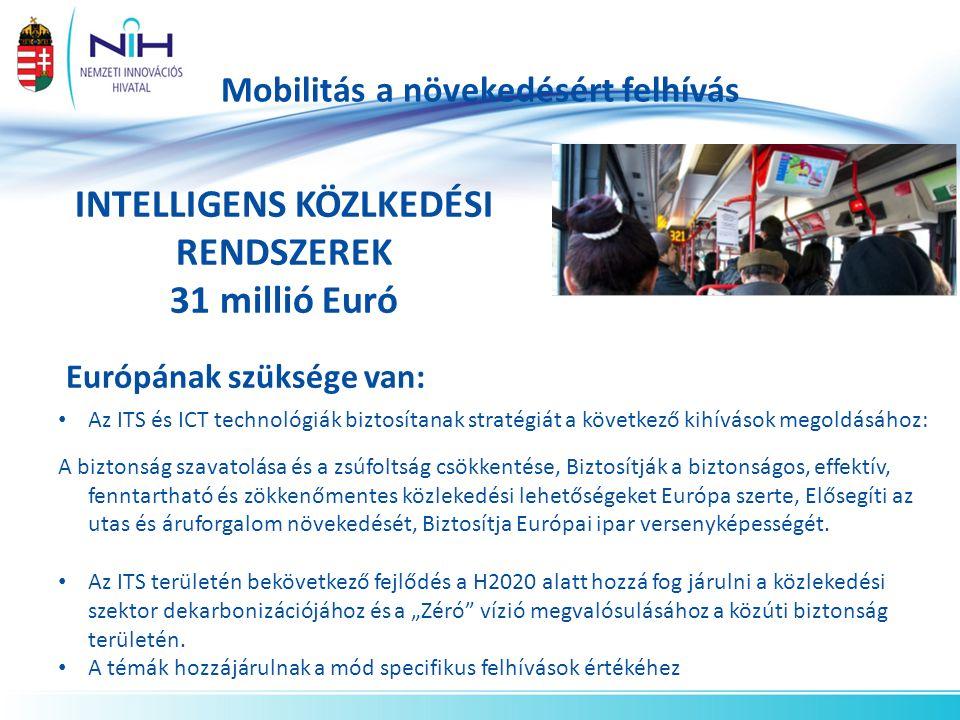 Mobilitás a növekedésért felhívás INTELLIGENS KÖZLKEDÉSI RENDSZEREK 31 millió Euró Európának szüksége van: Az ITS és ICT technológiák biztosítanak stratégiát a következő kihívások megoldásához: A biztonság szavatolása és a zsúfoltság csökkentése, Biztosítják a biztonságos, effektív, fenntartható és zökkenőmentes közlekedési lehetőségeket Európa szerte, Elősegíti az utas és áruforgalom növekedését, Biztosítja Európai ipar versenyképességét.