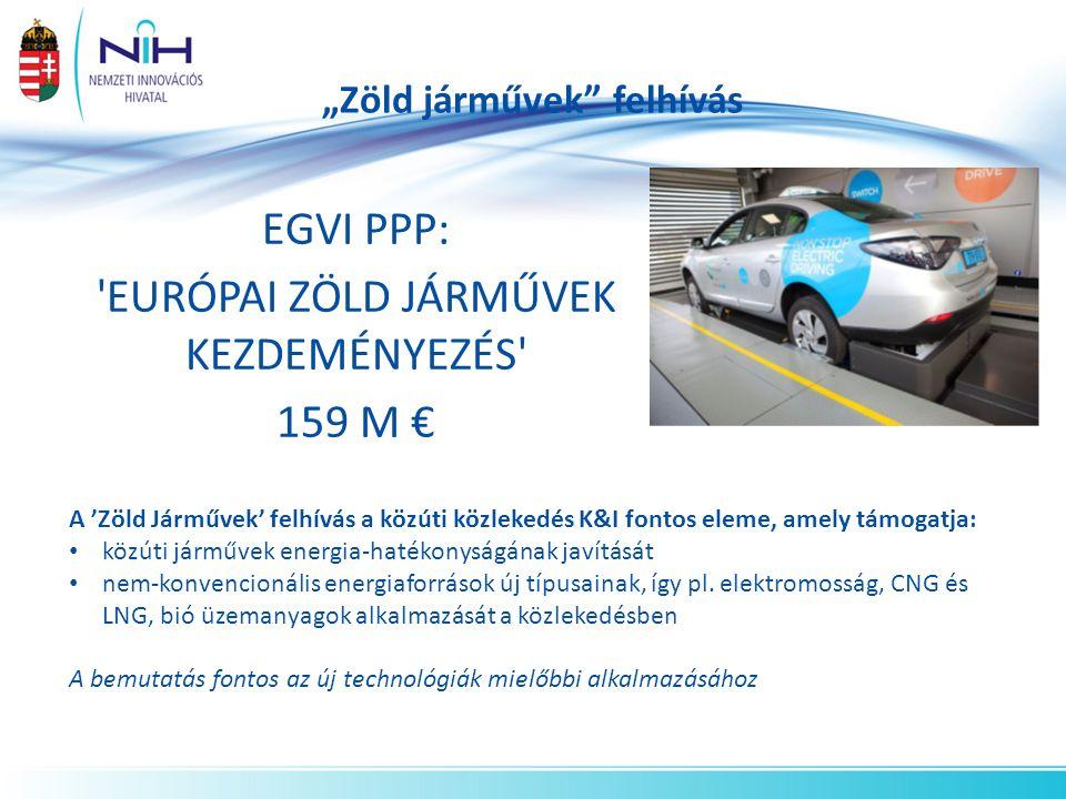 """""""Zöld járművek felhívás EGVI PPP: EURÓPAI ZÖLD JÁRMŰVEK KEZDEMÉNYEZÉS 159 M € A 'Zöld Járművek' felhívás a közúti közlekedés K&I fontos eleme, amely támogatja: közúti járművek energia-hatékonyságának javítását nem-konvencionális energiaforrások új típusainak, így pl."""