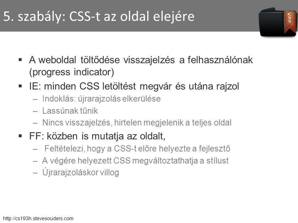 5. szabály: CSS-t az oldal elejére  A weboldal töltődése visszajelzés a felhasználónak (progress indicator)  IE: minden CSS letöltést megvár és után