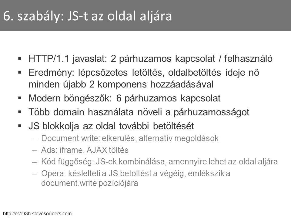 6. szabály: JS-t az oldal aljára  HTTP/1.1 javaslat: 2 párhuzamos kapcsolat / felhasználó  Eredmény: lépcsőzetes letöltés, oldalbetöltés ideje nő mi
