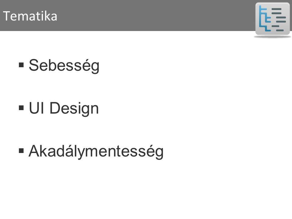 Tematika  Sebesség  UI Design  Akadálymentesség