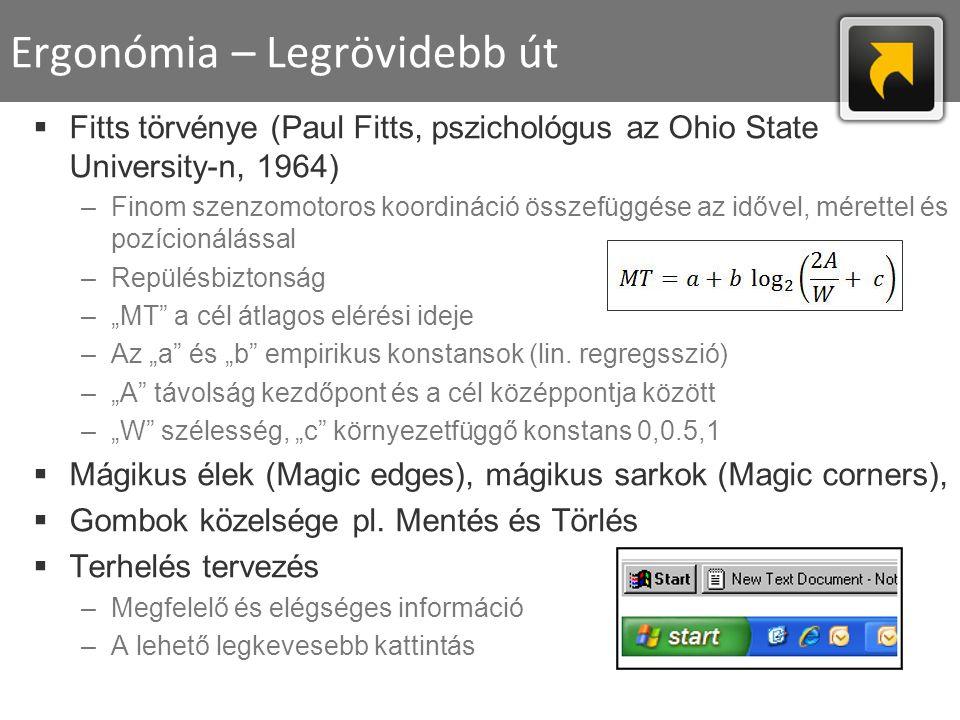 Ergonómia – Legrövidebb út  Fitts törvénye (Paul Fitts, pszichológus az Ohio State University-n, 1964) –Finom szenzomotoros koordináció összefüggése
