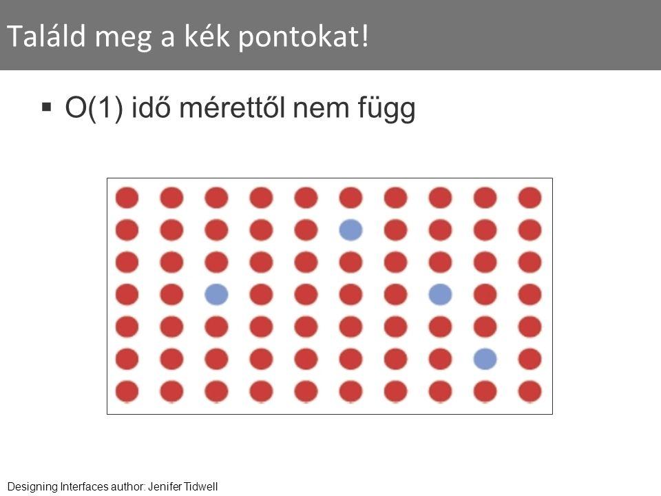 Találd meg a kék pontokat!  O(1) idő mérettől nem függ Designing Interfaces author: Jenifer Tidwell
