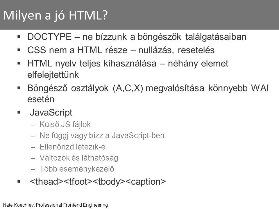 Milyen a jó HTML?  DOCTYPE – ne bízzunk a böngészők találgatásaiban  CSS nem a HTML része – nullázás, resetelés  HTML nyelv teljes kihasználása – n