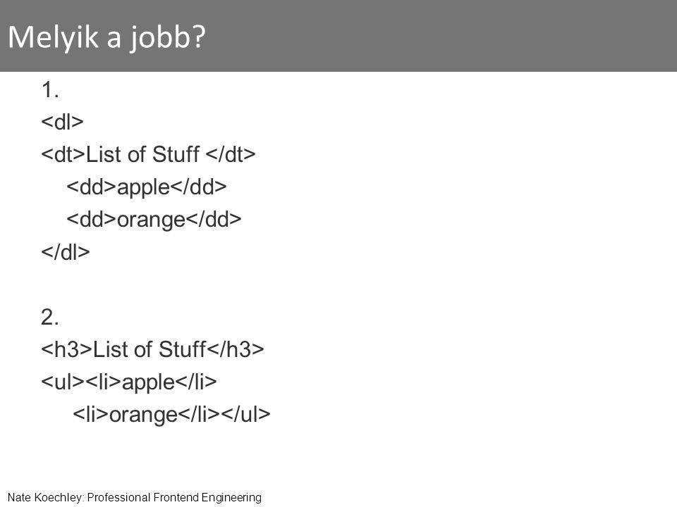 Melyik a jobb? 1. List of Stuff apple orange 2. List of Stuff apple orange Nate Koechley: Professional Frontend Engineering