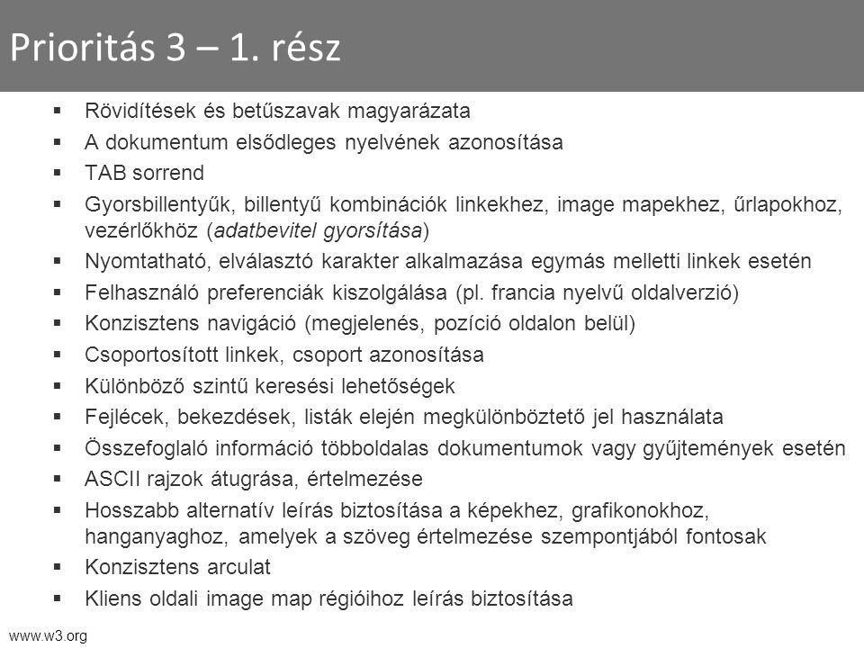 Prioritás 3 – 1. rész  Rövidítések és betűszavak magyarázata  A dokumentum elsődleges nyelvének azonosítása  TAB sorrend  Gyorsbillentyűk, billent
