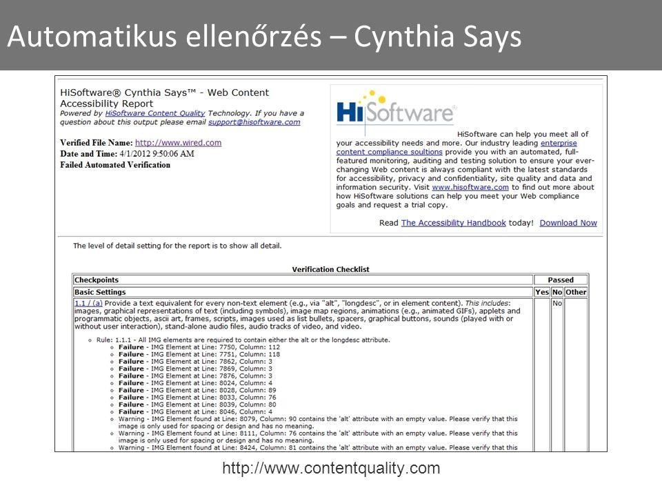 Automatikus ellenőrzés – Cynthia Says http://www.contentquality.com