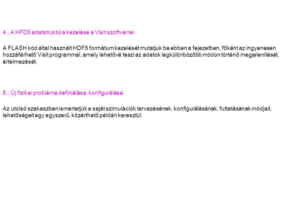 4., A HFD5 adatstruktúra kezelése a VisIt szoftverrel.