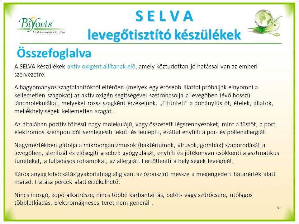 31 A SELVA készülékek aktív oxigént állítanak elő, amely köztudottan jó hatással van az emberi szervezetre.