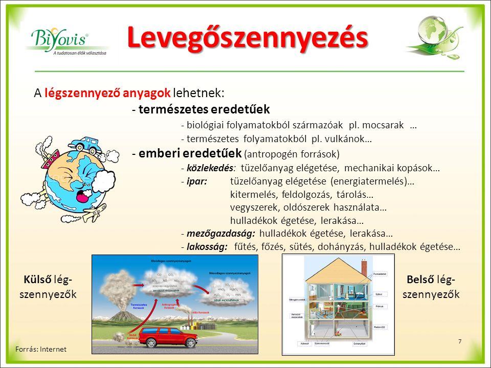 8 Főbb levegőszennyező anyagok Forrás: Internet Szénmonoxid (CO): széntartalmú anyagok elégetésekor keletkezik: tüzelő berendezésekben, erőművekben, hulladékégetőkben, belső égésű motorokban a tökéletlen égés során a szén-dioxid (CO 2 ) helyett Kéndioxid (SO 2 ): kéntartalmú kőszenet vagy kőolajat felhasználó erőművek, valamint a fűtés révén jut a levegőbe… Nitrogén-oxidok (NO, NO 2 ): belső égésű motorokból, nitrogénműtrágya gyártásnál, salétromsav-gyártásnál, energiatermelésből, robbanóanyagokból, rakéta üzemanyagokból keletkeznek… Illékony szerves vegyületek, oldószerek: műanyag-, lakk-, gyógyszeriparból, halogénezett szénhidrogének felhasználásából… szerves anyagok felhasználásából: oldószerek, hűtőfolyadékok… illékony kátránypárlatok előállításból, felhasználásából … policiklikus aromás szénhidrogének, poliklórozott bifenilek, dioxinok: tüzelőanyagok el nem égetett vagy tökéletlen égésen átesett alkotórészeiből, kőolaj-feldolgozásból, vegyi gyárakból Porok: tüzelő berendezésekből, vegyi folyamatokból, cementgyártásból, bányászatból, mechanikai műveletekből (aprítás, csiszolás)… - ülepedő por (1000-10 mm), - a lebegő por (10-0,1 mm)….