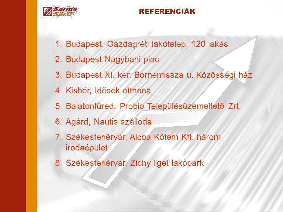 REFERENCIÁK 1.Budapest, Gazdagréti lakótelep, 120 lakás 2.Budapest Nagybani piac 3.Budapest XI.