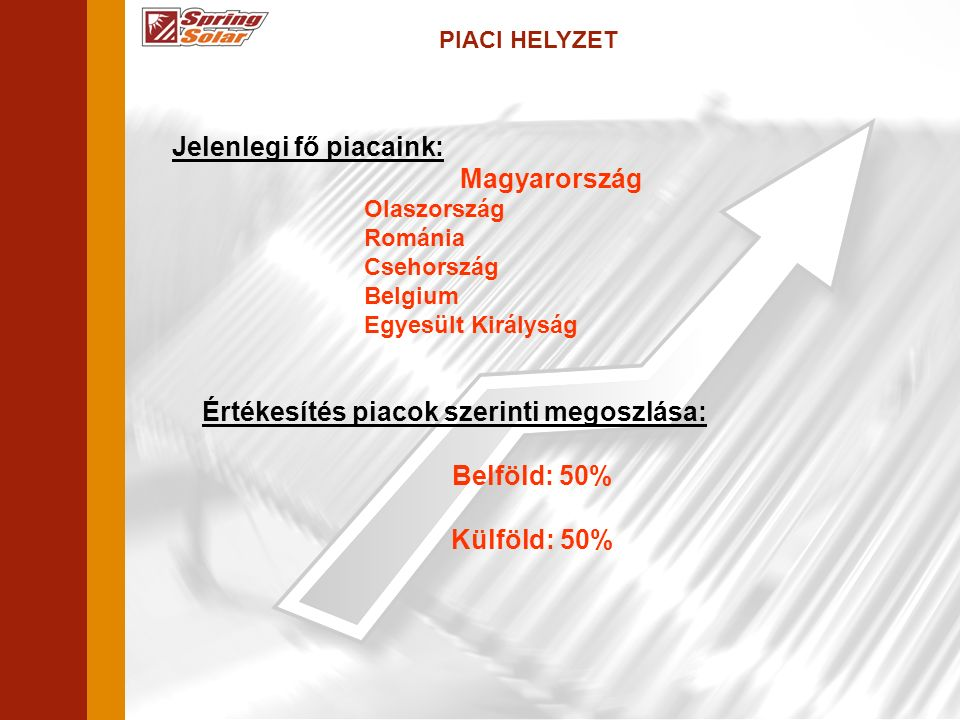 PIACI HELYZET Jelenlegi fő piacaink: Magyarország Olaszország Románia Csehország Belgium Egyesült Királyság Értékesítés piacok szerinti megoszlása: Belföld: 50% Külföld: 50%