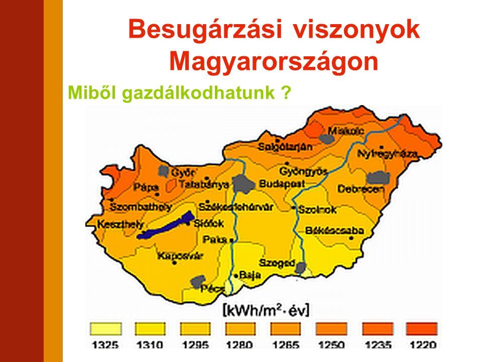 Besugárzási viszonyok Magyarországon Miből gazdálkodhatunk ?