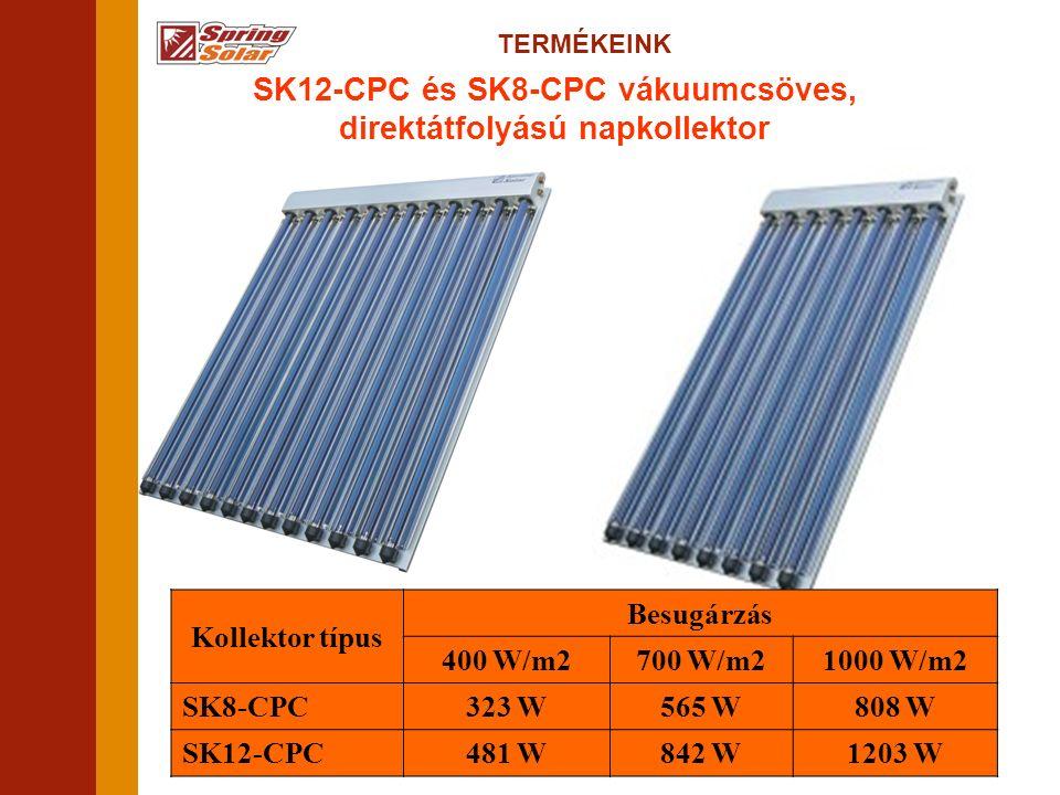 TERMÉKEINK SK12-CPC és SK8-CPC vákuumcsöves, direktátfolyású napkollektor Kollektor típus Besugárzás 400 W/m2700 W/m21000 W/m2 SK8-CPC323 W565 W808 W SK12-CPC481 W842 W1203 W