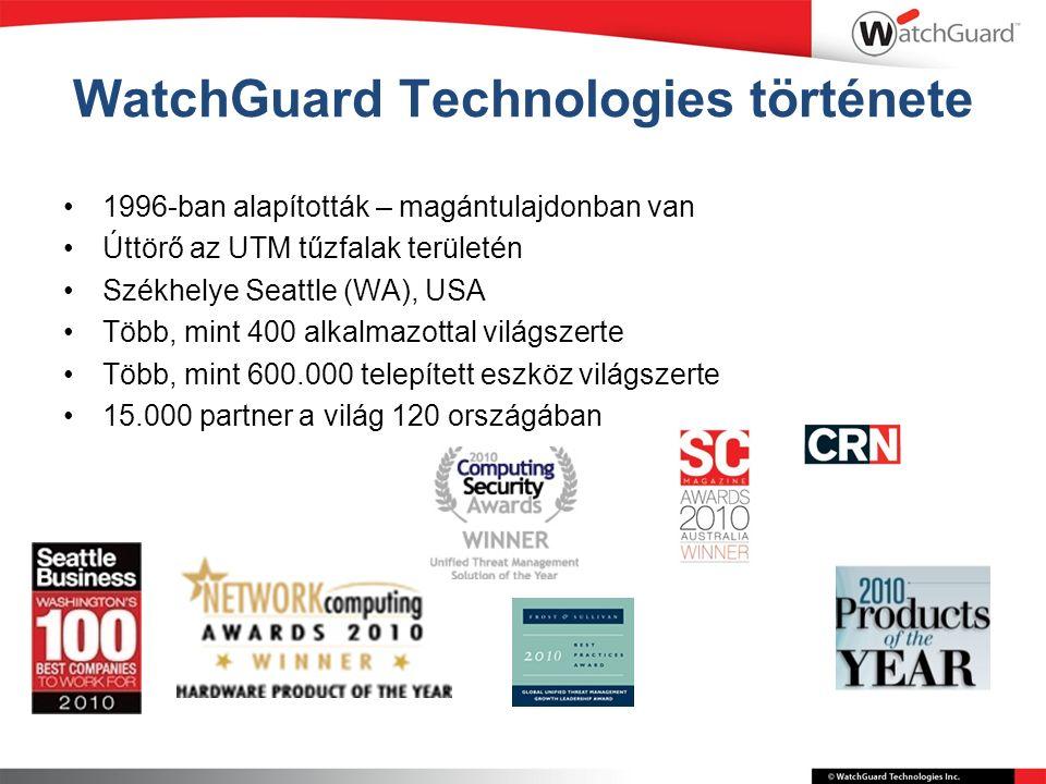 WatchGuard Technologies története 1996-ban alapították – magántulajdonban van Úttörő az UTM tűzfalak területén Székhelye Seattle (WA), USA Több, mint 400 alkalmazottal világszerte Több, mint 600.000 telepített eszköz világszerte 15.000 partner a világ 120 országában