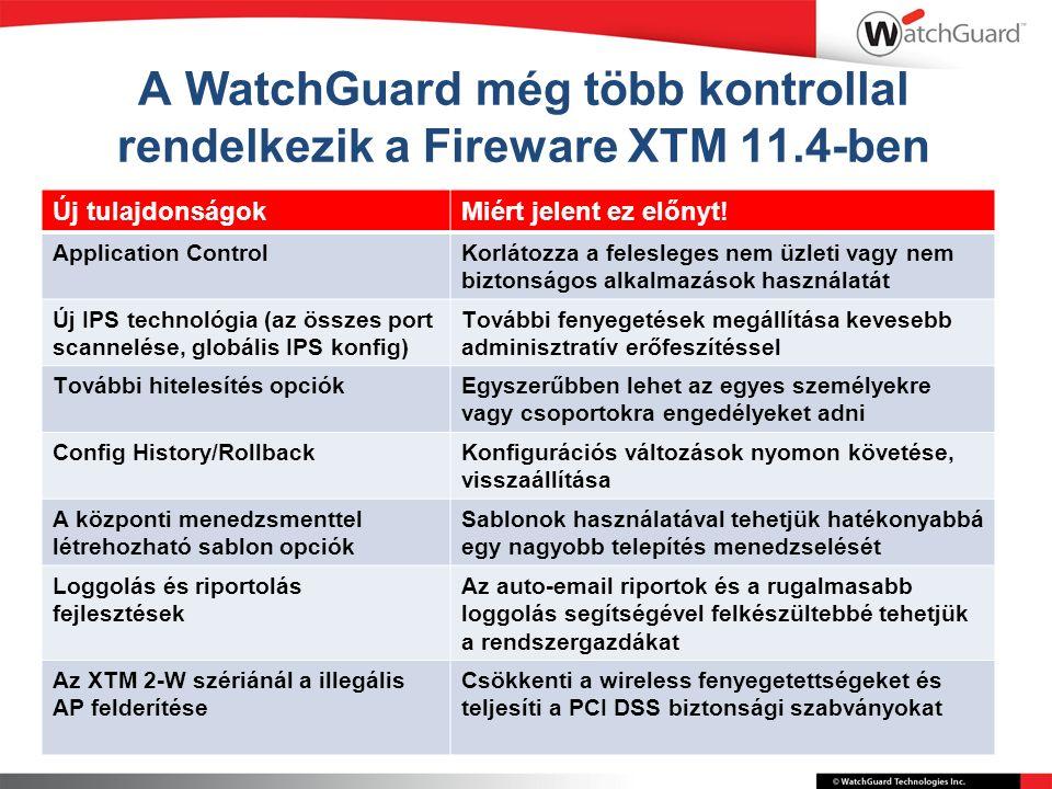 A WatchGuard még több kontrollal rendelkezik a Fireware XTM 11.4-ben Új tulajdonságokMiért jelent ez előnyt.