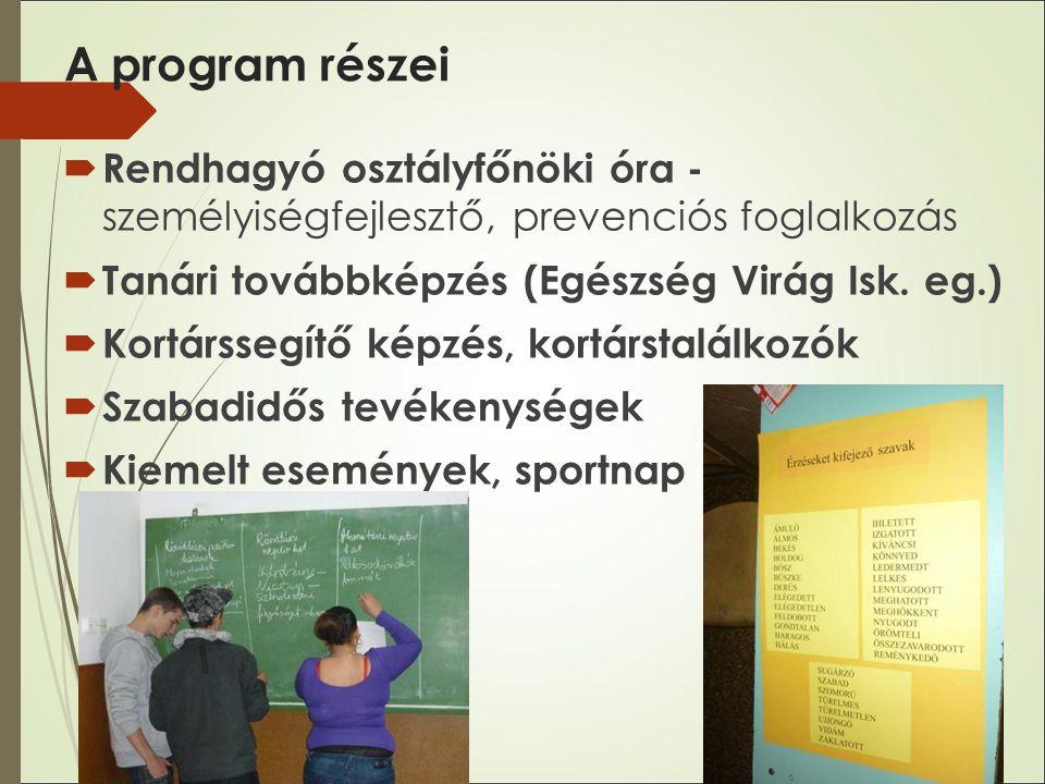 A program részei  Rendhagyó osztályfőnöki óra - személyiségfejlesztő, prevenciós foglalkozás  Tanári továbbképzés (Egészség Virág Isk.