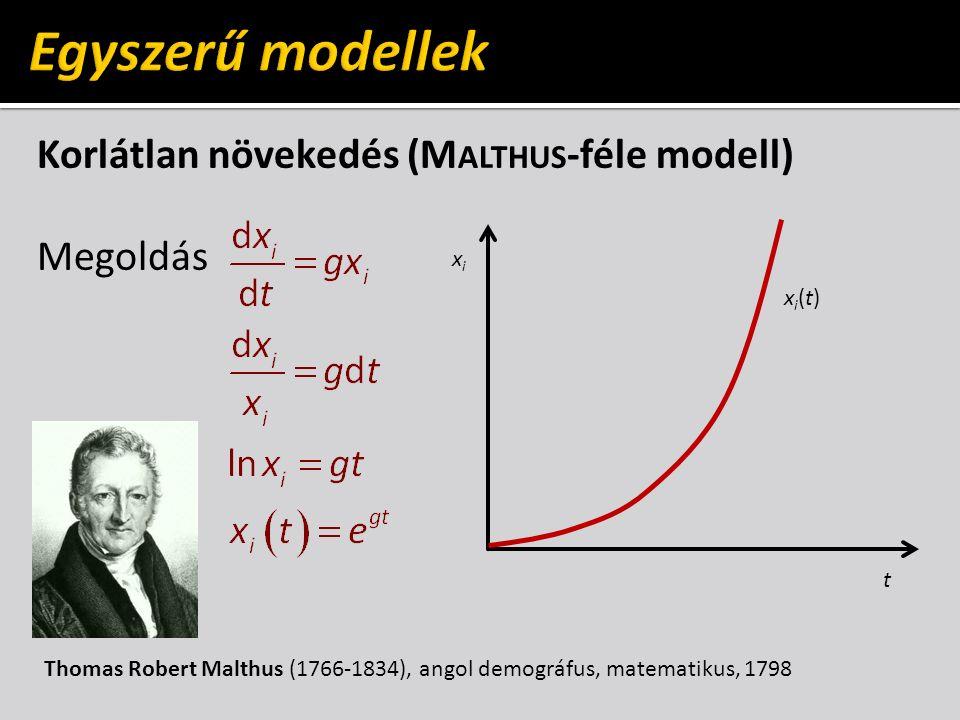 Korlátlan növekedés (M ALTHUS -féle modell) Megoldás t xixi xi(t)xi(t) Thomas Robert Malthus (1766-1834), angol demográfus, matematikus, 1798